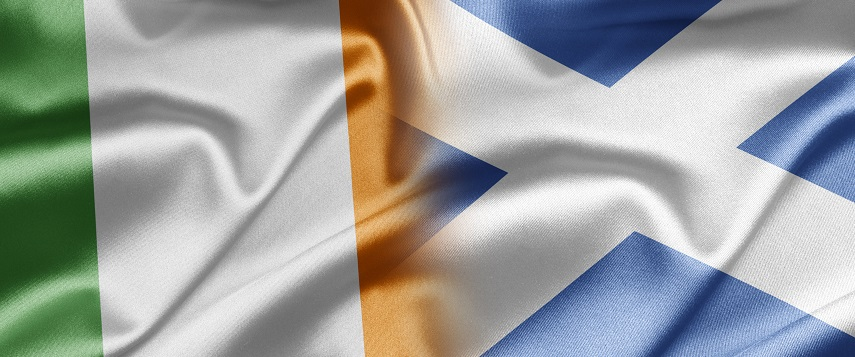 Waving Irish and Scottish flags merge