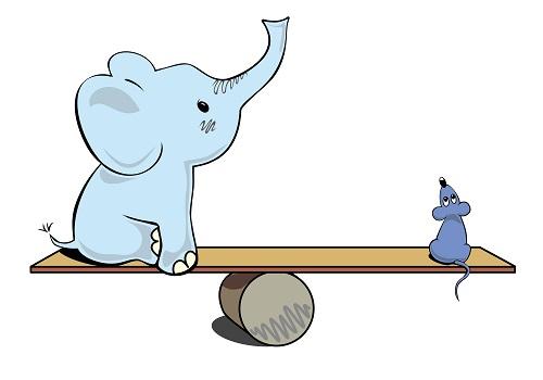 Elephant balancing a mouse