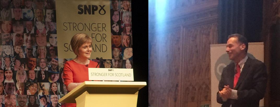Nicola Sturgeon speaks to William Ury on stage