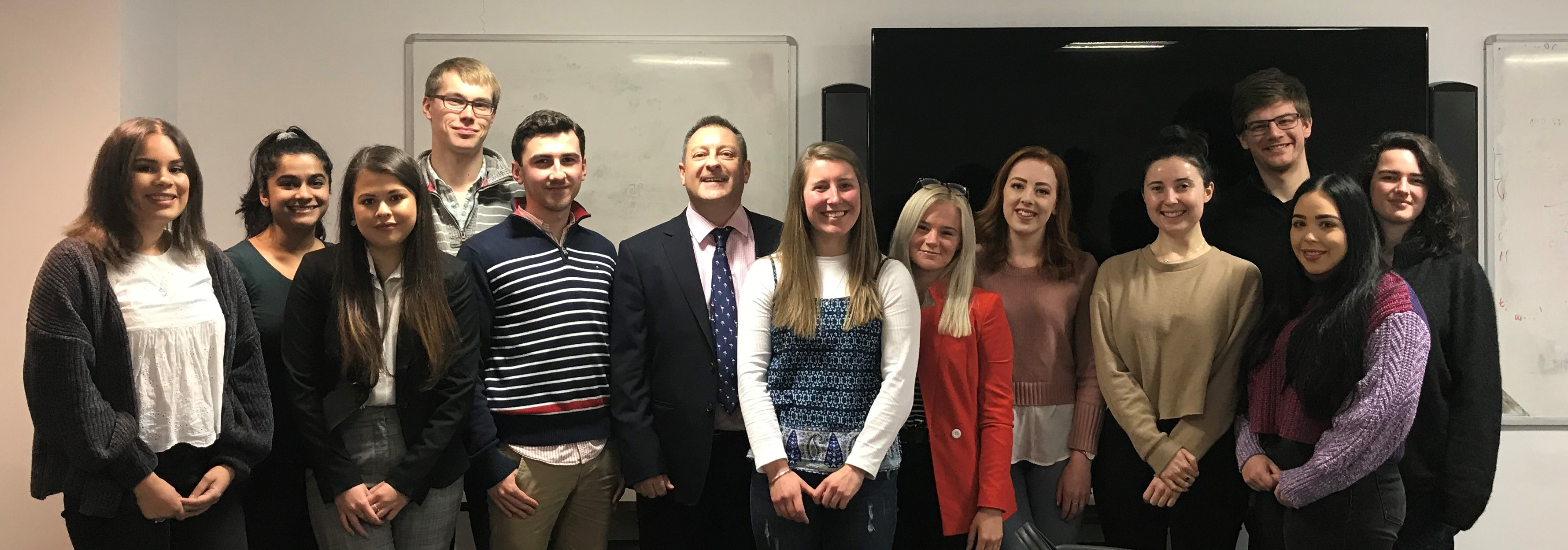 Group of Edinburgh University students with Paul Kirkwood Mediator